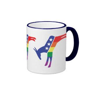 Democratic Gay Pride Donkey Ringer Coffee Mug