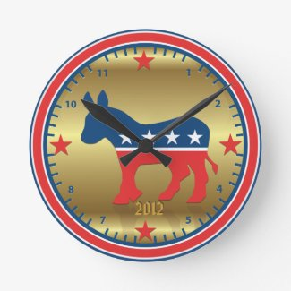 Democratic Party Election Donkey Golden Wall Clock