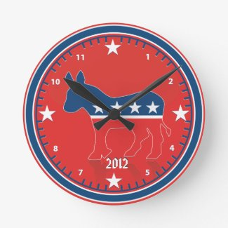 Democratic Party Election Donkey Red Wall Clock
