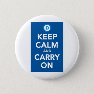 Democratic Party Keep Calm Blue.png Pinback Button