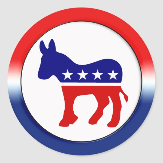 Democratic party symbol classic round sticker