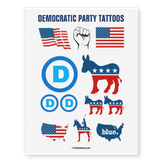 Democratic Party Temporary Tattoos