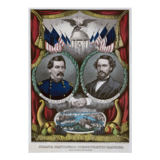 Democratic Presidential Ticket 1864 Poster