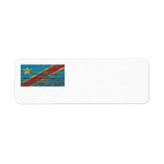 Democratic Republic of Congo Flag on Wood Boards Label