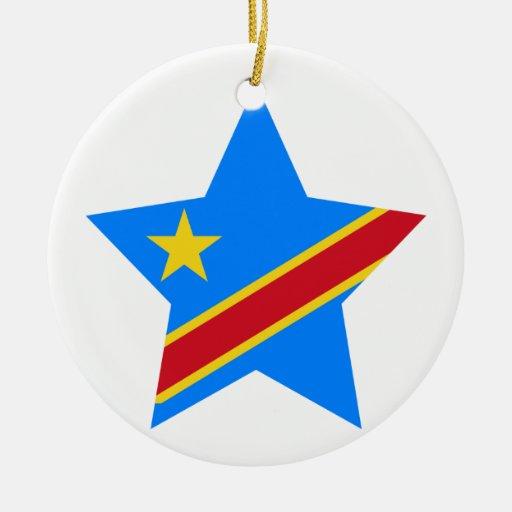 Democratic+Republic+of+Congo Star Double-Sided Ceramic Round Christmas Ornament