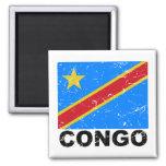 Democratic Republic of Congo Vintage Flag 2 Inch Square Magnet