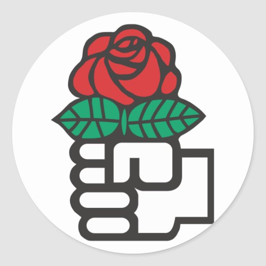 democratic socialism the fist and rose symbol classic round sticker zazzle. Black Bedroom Furniture Sets. Home Design Ideas
