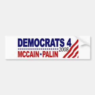 Democrats 4 McCain Palin Car Bumper Sticker