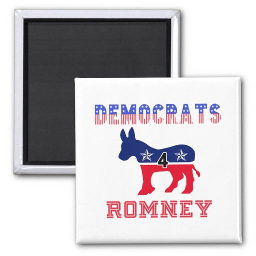 Democrats 4 Romney 2 Inch Square Magnet