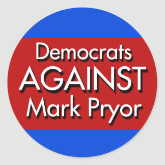 Democrats Against Mark Pryor Classic Round Sticker