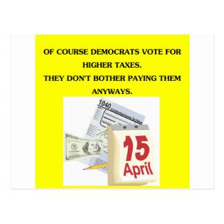 democrats and taxws postcard