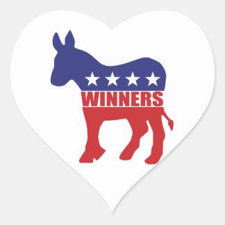 Democrats are winners heart sticker
