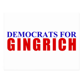 Democrats For Gingrich Postcard