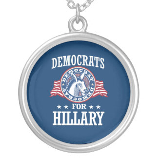 DEMOCRATS FOR HILLARY ROUND PENDANT NECKLACE