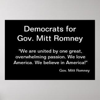 Democrats for Mitt Romney Posters
