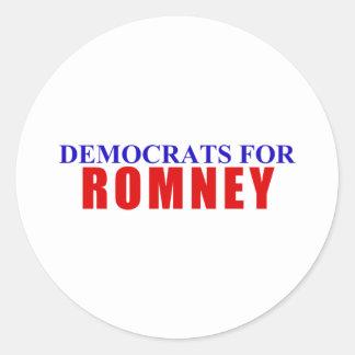 Democrats for Romney Classic Round Sticker