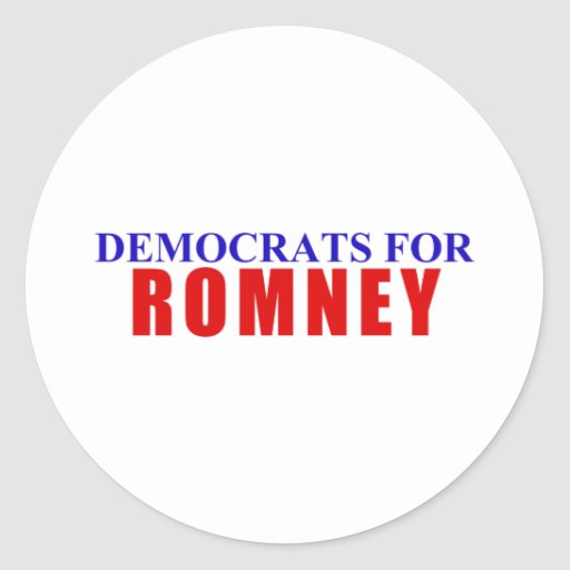 Democrats for Romney Round Stickers
