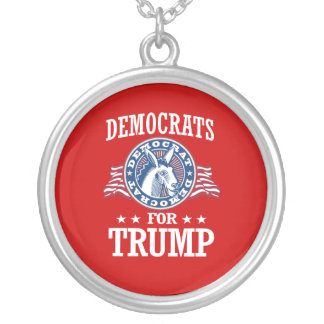 DEMOCRATS FOR TRUMP ROUND PENDANT NECKLACE