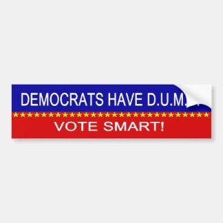 Democrats Have D.U.M.B. Car Bumper Sticker