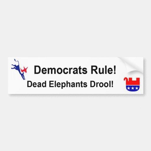 Democrats Rule Bumper Sticker Car Bumper Sticker