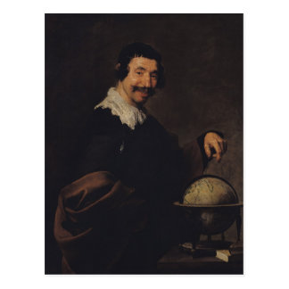 Democritus, or The Man with a Globe Postcard