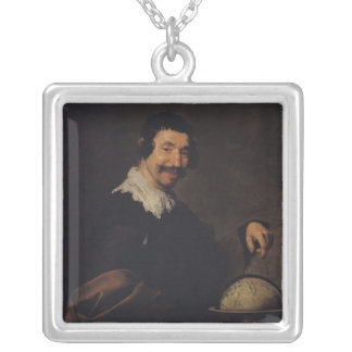 Democritus, or The Man with a Globe Silver Plated Necklace