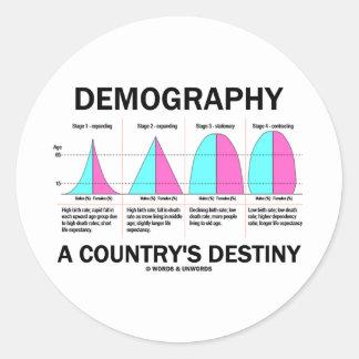 Demografía el destino de un país (cuatro etapas) pegatina