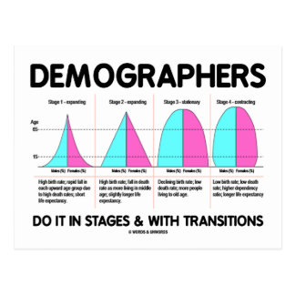 Demographers Do It In Stages & With Transitions Postcard