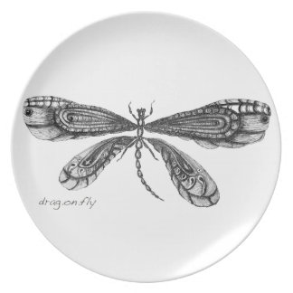 'Demoiselle'  is a dragonfly Melamine Plate