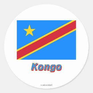 Demokratische Republik Kongo Flagge mit Namen Classic Round Sticker