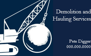 Demolition business cards zazzle demolition and hauling service construction business card colourmoves