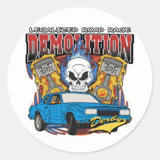 Demolition Derby Classic Round Sticker
