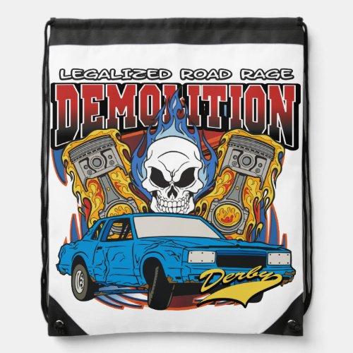 Demolition Derby Drawstring Backpack