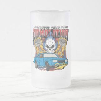 Demolition Derby Frosted Glass Beer Mug