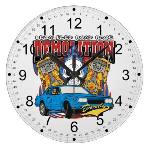 Demolition Derby Large Clock