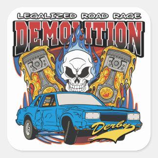 Demolition Derby Square Sticker