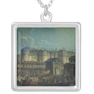 Demolition of the Bastille in 1789 Silver Plated Necklace