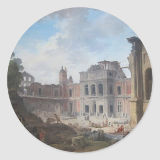 Demolition of the Château of Meudon Hubert Robert Classic Round Sticker