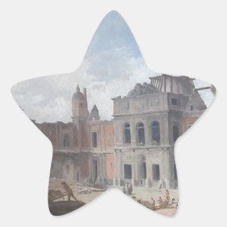 Demolition of the Château of Meudon Hubert Robert Star Sticker