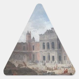 Demolition of the Château of Meudon Hubert Robert Triangle Sticker