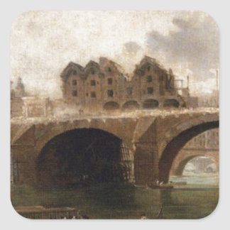 Demolition of the Houses on the Pont Notre-Dame Square Sticker