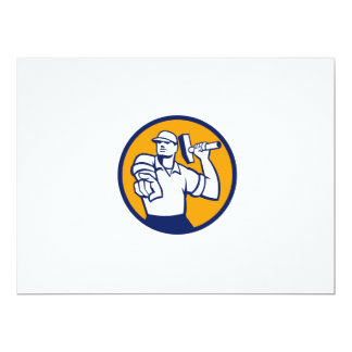 Demolition Worker Hammer Pointing Circle Retro Card