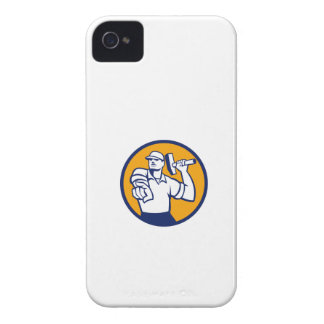Demolition Worker Hammer Pointing Circle Retro Case-Mate iPhone 4 Case