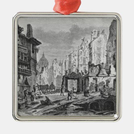 Demolitions for the building of Rue des Ecoles Metal Ornament