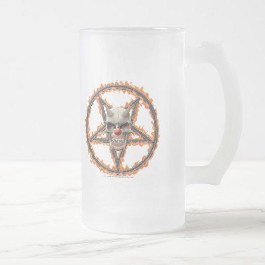 Demon Clown Skull & Burning Pentagram Frosted Glass Beer Mug