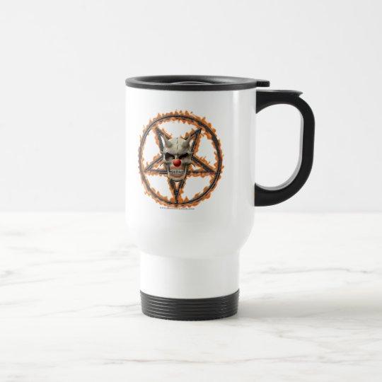Demon Clown Skull & Burning Pentagram Travel Mug