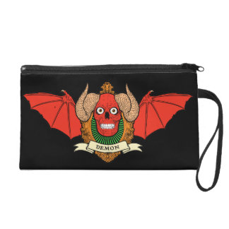 Demon Devil Skull with Bat Wings and Rams Horns Wristlets