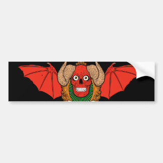 Demon Devil Skull with Bat Wings and Rams Horns Bumper Sticker