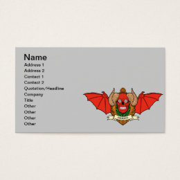 Demon Devil Skull with Bat Wings and Rams Horns Business Card