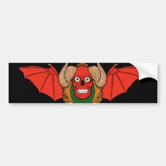 Demon Devil Skull with Bat Wings and Rams Horns Car Bumper Sticker